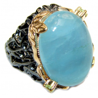 Spectacular genuine 55 ctw Aquamarine 18K Gold over .925 Sterling Silver handmade ring s. 6