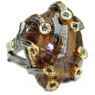 Huge Rough Smoky Topaz 14K Gold over .925 Sterling Silver ring s. 6