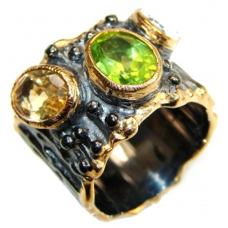 Large Energazing genuine Multigem 18K Gold over .925 Sterling Silver Ring size 6