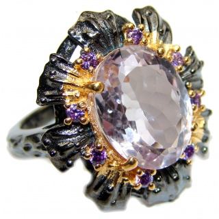 Spectacular genuine Pink Amethyst 14K Gold over .925 Sterling Silver handcrafted Ring size 7 1/4