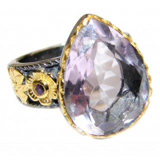 Spectacular genuine Pink Amethyst 14K Gold over .925 Sterling Silver handcrafted Ring size 7