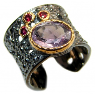 Spectacular 18 ctw genuine Amethyst .925 Sterling Silver handcrafted Ring size 7 adjustable