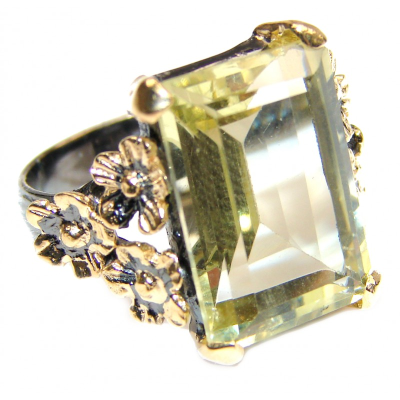 Vintage Style Natural Citrine 14K Gold over .925 Sterling Silver handcrafted Ring s. 7 3/4