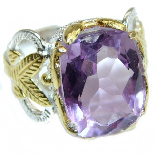 Spectacular genuine Amethyst 18K Gold over .925 Sterling Silver handcrafted Ring size 7