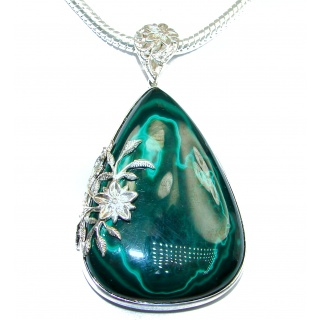 Best Quality Large Genuine Malachite oxidized .925 Sterling Silver handmade necklace