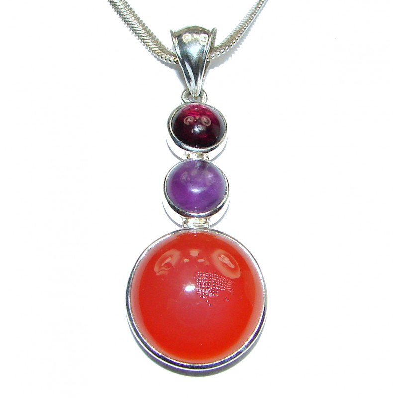 Natural Bold Carnelian .925 Sterling Silver handmade Necklace