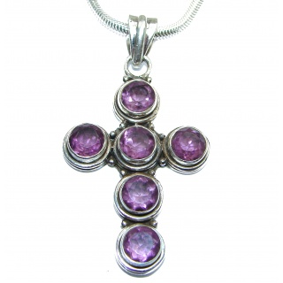 Cross Amethyst .925 Sterling Silver handmade Necklace