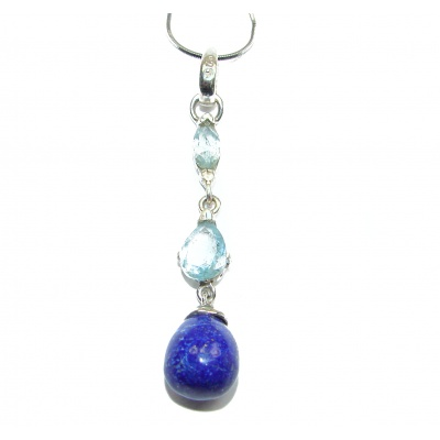 Great Masterpiece genuine Lapis Lazuli 18K Gold over .925 Sterling Silver handmade necklace