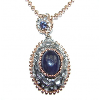 Five Ladybugs Natural Tanzanite 18K Gold over . 925 Silver Necklace