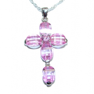 Cross Pink Topaz .925 Sterling Silver handmade Necklace