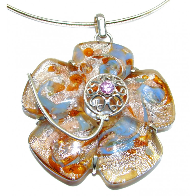 Mystical Eye Rainbow Dichroic Glass .925 Sterling Silver handmade necklace