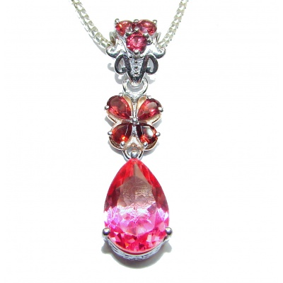 Posh Pink Tourmlaine .925 Sterling Silver handmade Necklace