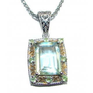 Fancy Style Green Amethyst .925 Sterling Silver necklace