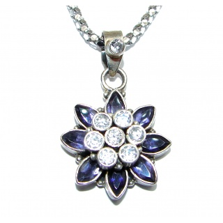 Incredible genuine Iolite .925 Sterling Silver handmade necklace