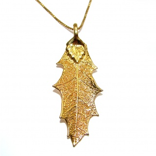 Leaf Deep In Gold over .925 Sterling Silver necklace