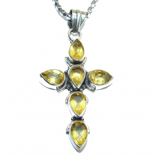 Cross authentic Citrine .925 Sterling Silver handmade Necklace