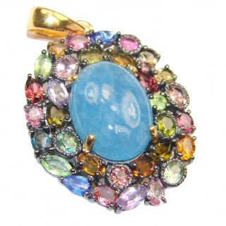 Spectacular Genuine Aquamarine Tourmaline 18K Gold over .925 Sterling Silver handmade Pendant