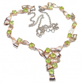 Masterpiece Peridot 18K Gold .925 Sterling Silver handcrafted necklace