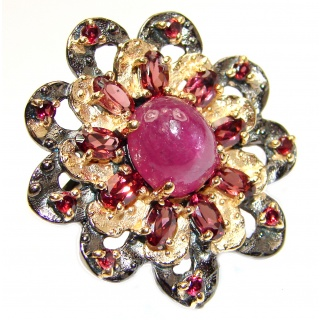 Large genuine Ruby 24K Gold over .925 Sterling Silver Statement Italy made ring; s. 6