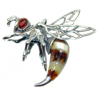 Real Masterpiece Honey Bee Baltic Polish Amber .925 Sterling Silver Handmade Pendant