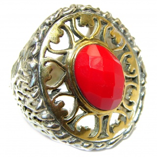 Natural Fossilized Coral 18K Gold over .925 Sterling Silver handmade ring s. 8 1/4