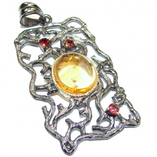 Genuine 25ct Citrine 14K Gold .925 Sterling Silver handmade Pendant