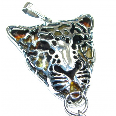 Large Gephard Natural Baltic Amber .925 Sterling Silver handmade Pendant