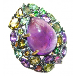 Natural Amethyst 18K Gold over .925 Sterling Silver handmade ring s. 6 1/4
