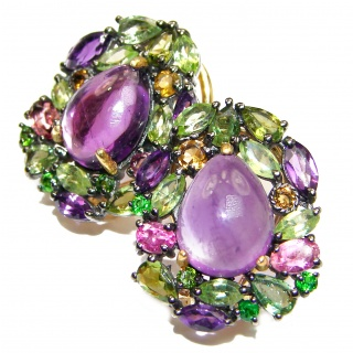 Vintage Design Authentic Amethyst Emerald 24K Gold over .925 Sterling Silver handmade earrings