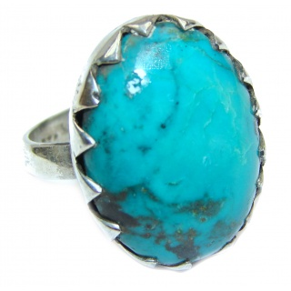 Blue Turquoise .925 Sterling Silver ring; s. 7 3/4