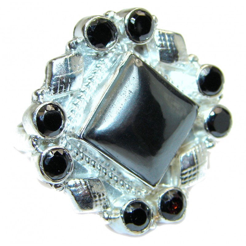 Amazing Hematite Sterling Silver ring s. 9