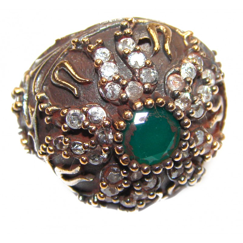 Victorian Style created Emerald & White Topaz Sterling Silver Ring s. 5 1/4