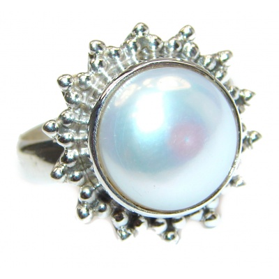 Pearl .925 Sterling Silver handmade ring size 7 1/2