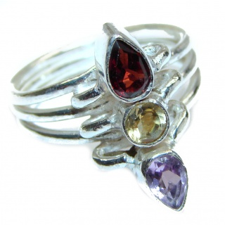 Large Energazing genuine Multigem .925 Sterling Silver Ring size 6