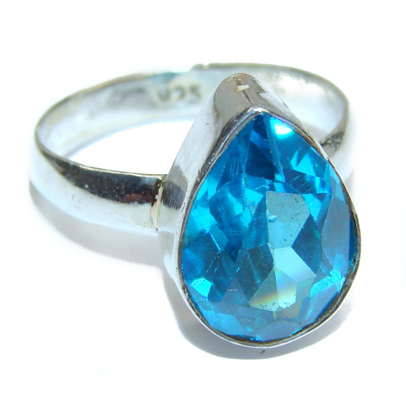 Authentic Topaz .925 Sterling Silver handcrafted ring; s. 7 1/2