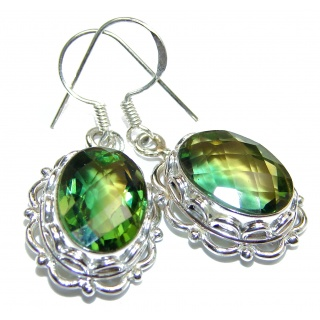Rare Perception Fresh Green Quartz .925 Sterling Silver handcrafted earrings