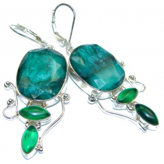 Victorian Style Emerald .925 Sterling Silver earrings