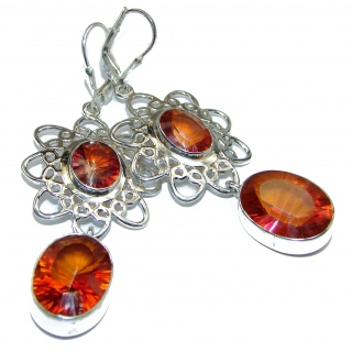 Huge Red Rainbow Magic Topaz .925 Sterling Silver handmade earrings