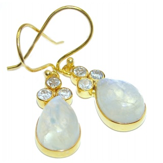 Genuine Fire Moonstone Gold over .925 Sterling Silver handcrafted Earrings