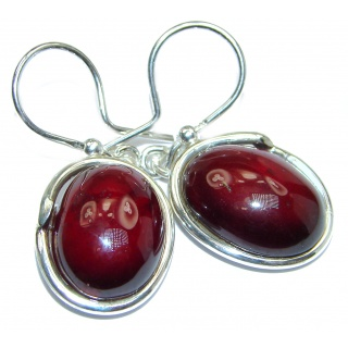 Authentic 32ct Garnet .925 Sterling Silver handmade earrings