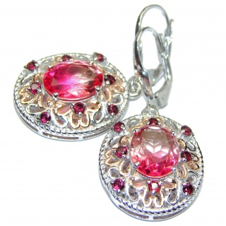 Pink Tourmaline color Topaz 18K Gold .925 Sterling Silver entirely handmade earrings