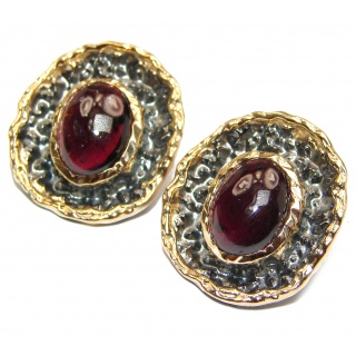 Unique NATURAL Garnet Rose 24ctw Gold over .925 Sterling Silver handmade stud earrings