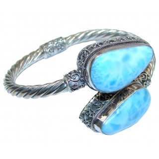 Large Beauty of Nature Blue Larimar .925 Sterling Silver handcrafted Bracelet / Cuff