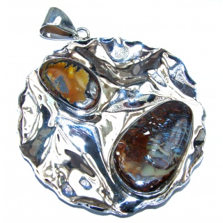 One of the kind genuine Koroit Opal .925 hammered Sterling Silver Pendant