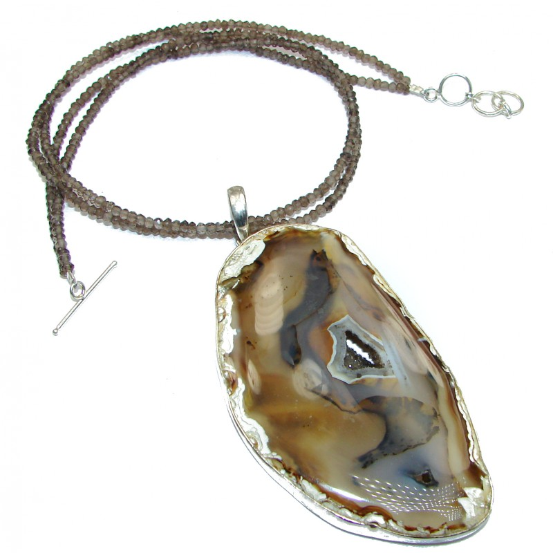 Unique Design genuine Botswana Agate .925 Sterling Silver handcrafted necklace