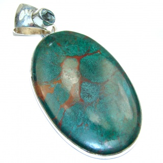 Exquisite Boulder Turquoise .925 Sterling Silver handmade Pendant