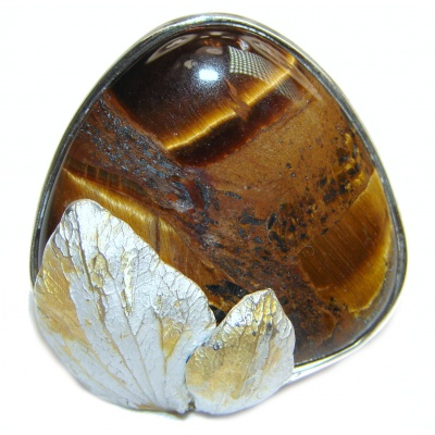 Bold Silky Golden Tigers Eye .925 Sterling Silver handmade ring s. 6 1/4