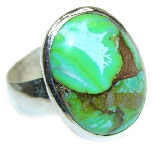 Energizing green Turquoise .925 Sterling Silver handmade Ring size 12
