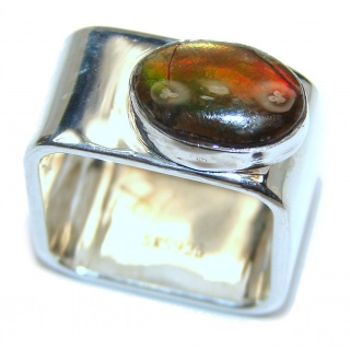 Pure Energy Fire Genuine Canadian Ammolite .925 Sterling Silver handmade ring size 8