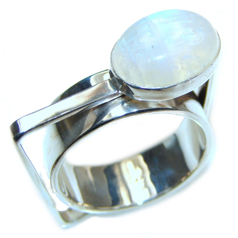 Fire Moonstone .925 Sterling Silver handmade Ring size 10